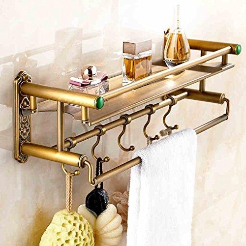 Toutes les étagères en bronze de salle de bain en rétroélectrique à double couche de style européen/salle de bains (taille : 60 cm)