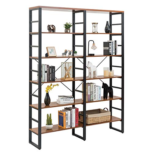 Tangkula 80 Inches Double 6-Shelf Bookcase, Industrial Style Double 6-Tier Bookshelf, Large Open Bookcases w/Metal Frame, Ample Storage Display Bookshelf for Home Office (60'' L x 13.5'' W x 80' H)