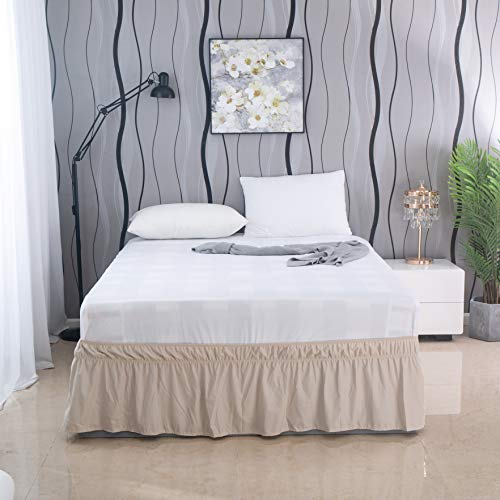 AYASW Bed Skirt 16 Inch Drop Dust Ruffle Three Fabric Sides Wrap Around with Elastic No Top (Queen-King Beige)