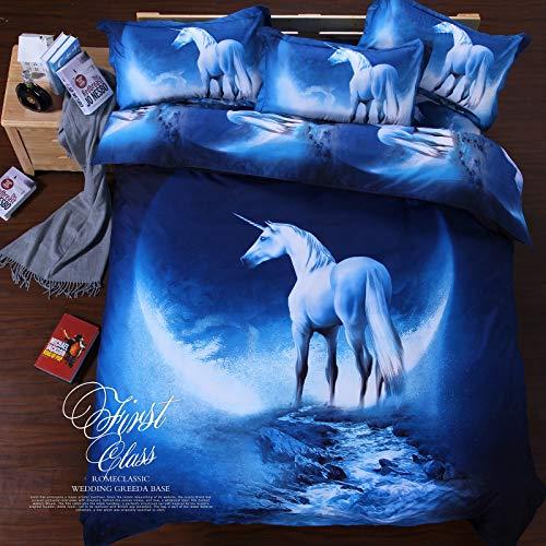 HYZSM Funda Nórdica Cama 180 Unicornio Azul 220×230CM Suave y Agradable de Microfibra Ligera con Cierre de Cremallera Funda Edredón 3 Piezas con 2 Fundas de Almohada 50X75 CM