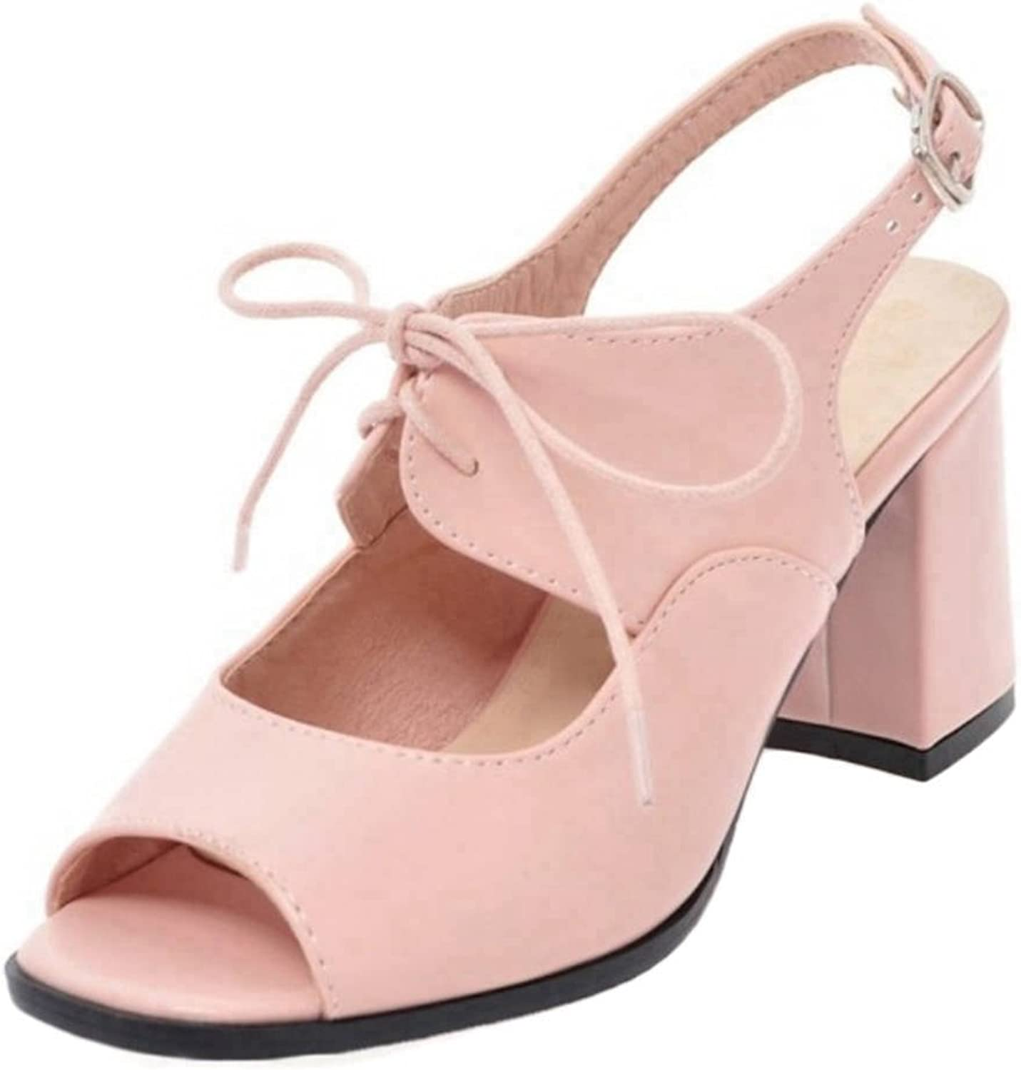 Smilice Fashion Sandals with Chunky and Open Toe Lace-up Sandals with Plus Size Available