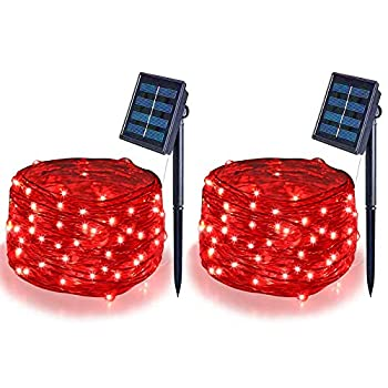 Solar String Lights Outdoor Solar Fairy Lights,16.4Ft 50LEDS IP65 Waterproof Wire Lighting for Christmas Tree Halloween Home Garden Wedding Party Decoration Red