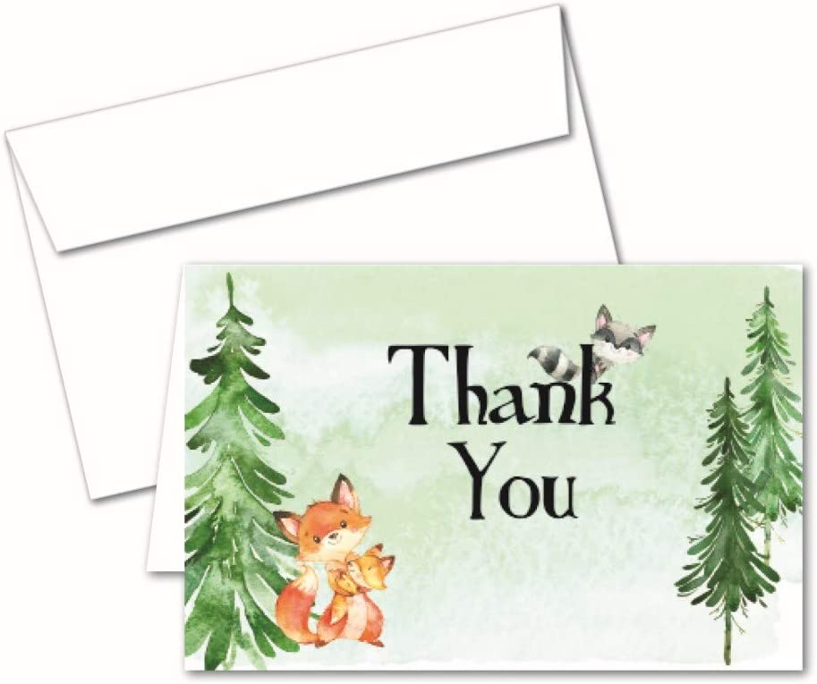 Woodland Creatures: 50 Thank You Notes; Note Cards and Envelopes for Baby Shower, Kids Birthday. With Forest Animal Themes of Rustic Woodland Party Supplies and Decorations for Boy, Girl, or Neutral