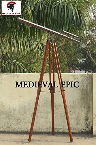 Medieval Epic Trípode náutico Doble Barril telescopio Vintage Acabad