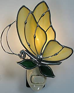 Stain Glass Yellow Butterfly Night Light