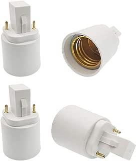 E-Simpo 2-Pin G24d to E26/27 Adapter G24 CFL Light Socket Adapter G24D-1,G24D-2,G24D-3,GX24D-1,GX24D-2,GX24D-3 to E26 Lamp Holder Converter LED Light Bulb Extend Plug(4-Pack)