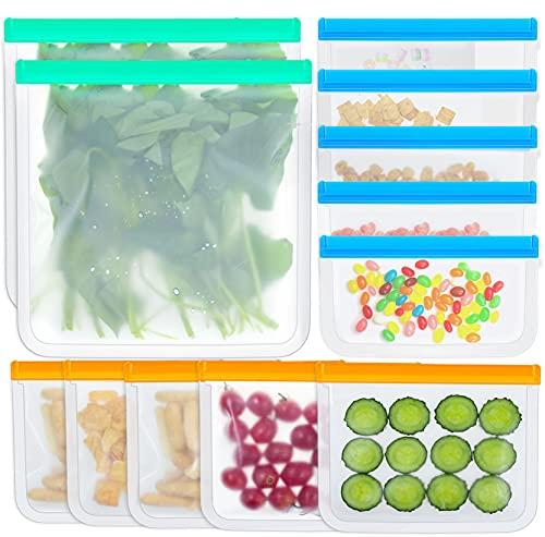 KSFJZF 12 Pack Reusable Storage Bags, 5 Reusable Snack Bags 5 Reusable Sandwich Bags 2 Reusable...