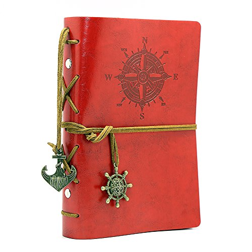 Leather Writing Journal Notebook, EvZ 7 Inches Vintage Nautical Spiral Blank String Diary Notepad Sketchbook Travel to Write in, Unlined Paper, Retro Pendants, Classic Embossed, Red