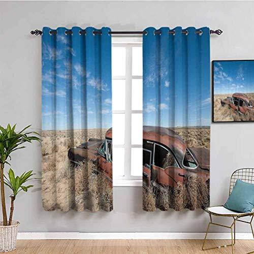 Cars Decor Collection - Cortina extralarga, estilo rústico viejo y oxidado, para automóvil en el medio del nuevo México, diseño de arbustos y ciudad fantasma, color azul
