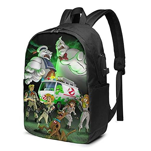 Yaxinduobao Mochila Scooby-D-Oo Ghost-Busters de 17 pulgadas con bolsas de hombro USB para ordenador portátil, mochila de viaje para estudiantes, hombres y mujeres