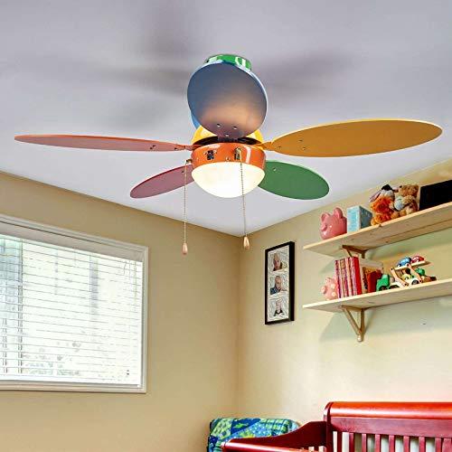 Lindby Deckenventilator mit Beleuchtung und Zugschalter leise | 2-in-1: Ventilator Kinderzimmer & Lampe | Durchmesser: 106,6 cm | 3 Geschwindigkeitsstufen | Sommer- & Winterbetrieb