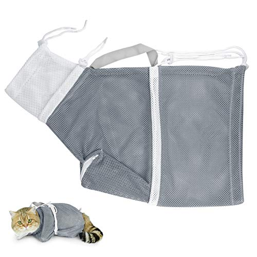 WBYJ Cat Bath Bag Cat Washing Shower Net Bag Adjustable Breathable Soft Polyester Restraint Grooming Mesh Bags for Kitten Puppy Dog Bathing Nail Trimming Injection Medication Ear Cleaning Grey
