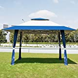 COSTWAY 3X3M Wedding Canopy Pop Up Gazebo Waterproof Tent Awning Marquee W/Carry Bag (With Sidewalls...