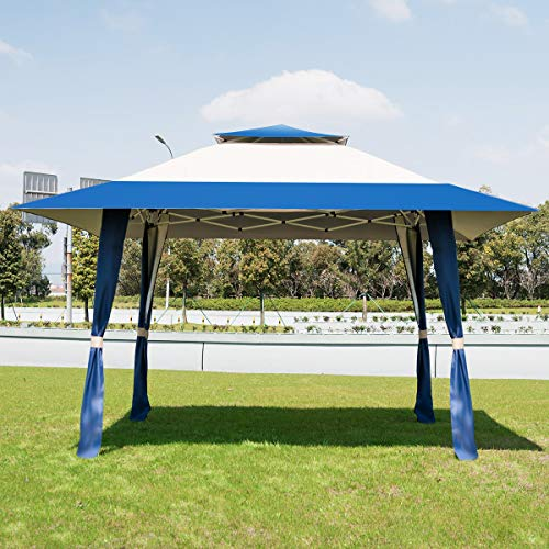 COSTWAY 4 x 4m Pop-Up Outdoor Gazebo, Waterproof Pavilion Canopy Tent with 2-Tier Roof, Carrying Bag, Large Marquee Shelter for Patio, Backyard, Garden, Event, Party (Blue+Beige)