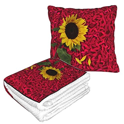 AEMAPE Manta de Almohada de Coche con Textura de Flor de Girasol, Manta de sofá, Manta de Almohada de Viaje, cálida y Gruesa, Almohada de Felpa para el Cuello de avión para Dormir