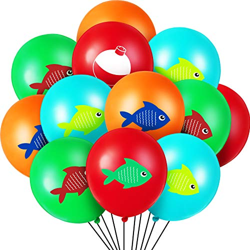 60 Pieces Fish Bobber Balloons Fish Party Balloon Gone Fishing Balloon for Kids Birthday Baby Shower Party Supply
