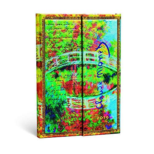 Paperblanks Terminplaner 2019 mit Lesebändchen & Innentasche, Monet Die Brücke, Brief an Morisot, Woche für Woche + Notizen verso, Mini, 140 x 100 mm