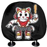 ALALAL Carseat Headrest Cover Club Martial Arts Cat Ninja Juego de Fundas para reposacabezas Juego de 2 Universal Fit For Cars Vans Trucks Reposacabezas Cojín Moda Auto Interior Accesorios