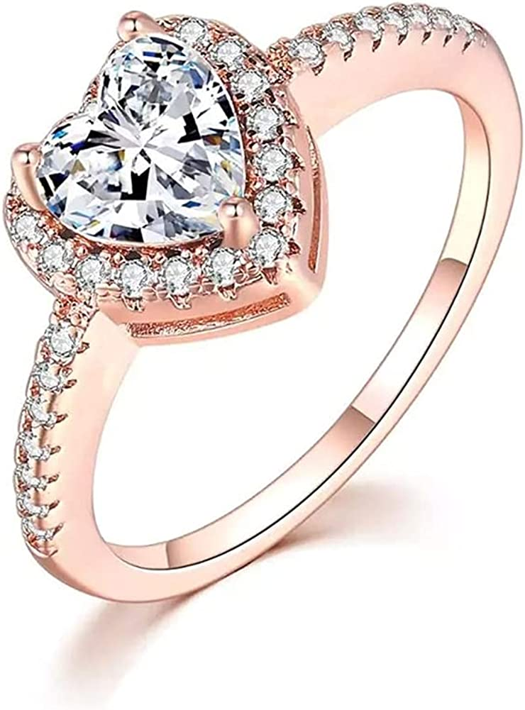 5 ☆ very popular MFHUNX 14K White Gold Plated Heart Cubic Spring new work Rings Zirconi Women for