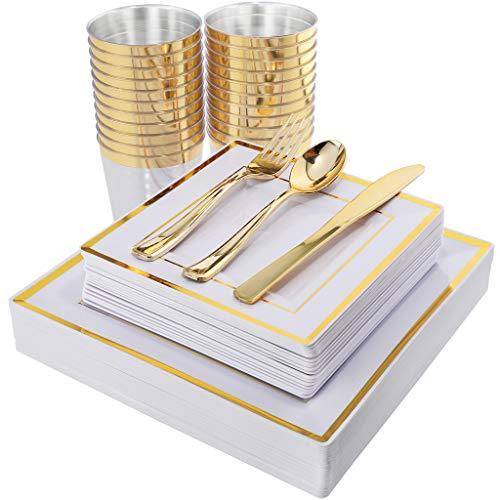 I00000 150PCS Gold Square Plates...