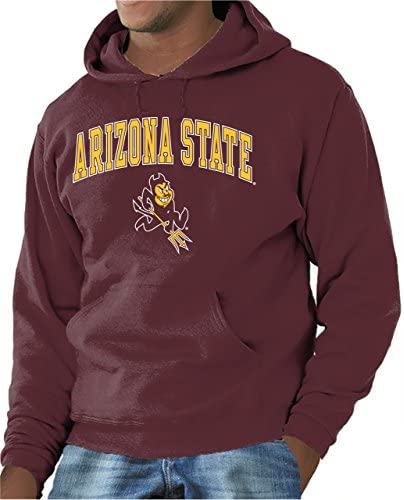Campus Colors NCAA Adult Arch Logo Gameday Hooded Sweatshirt Arizona State Sun Devils Maroon product image