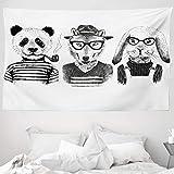 ABAKUHAUS Tier Wandteppich und Tagesdecke Hipster Panda Zigarre Foxaus Weiches Mikrofaser Stoff 230 x 140 cm Pflegeleicht Schwarz-grau-weiß