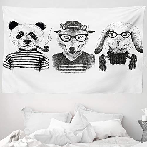 ABAKUHAUS Tier Wandteppich & Tagesdecke Hipster Panda Zigarre Foxaus Weiches Mikrofaser Stoff 230 x 140 cm Leicht zu pflegen Schwarz-grau-weiß