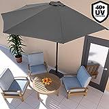 Deuba Ombrellone mezzaluna a parete Ø2,7m x 2,3m H con manovella UV40+ idrorepellente giardino balcone terrazza Antracite