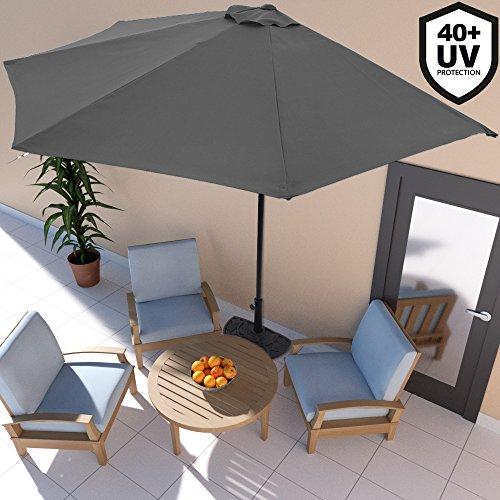 Demi-Parasol avec manivelle Ø 3m - Terrasse Balcon - Anthracite