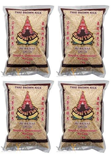 [ 4x 1kg ] ROYAL THAI Brauner Reis AAA NATURREIS Thai Brown Rice + ein kleines Glückspüppchen - Holzpüppchen
