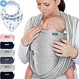 Makimaja - Écharpe de portage gris clair - porte-bébé de haute qualité pour nouveau-nés et bébés jusqu'à 15 kg - en coton doux - incl. sac de rangement et bavoir bébé