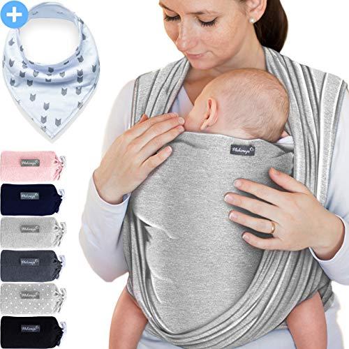Babytragetuch Hellgrau – hochwertiges Baby-Tragetuch für Neugeborene und Babys bis 15 kg - inkl. GRATIS Baby-Lätzchen