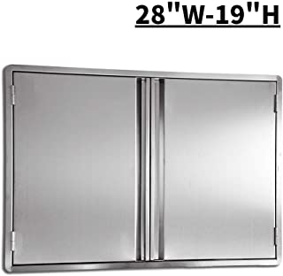 CIOGO Outdoor Kitchen Cabinets 28x19 Inch Double Wall BBQ Doors, 304 All Brushed Stainless Steel Double BBQ Access Doors for BBQ Island, BBQ Grill, Outdoor Kitchen or Outside Cabinet, Built-in