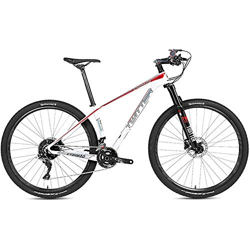 27.5 Inch All-Terrain Mountain Bike Carbon Fiber Mountain Bike, Featuring 27 Speed Suspension Fork/Dual Disc Brake, Lightweight, Full Suspension Anti-Slip MTB Bicycle,White+red,29×19