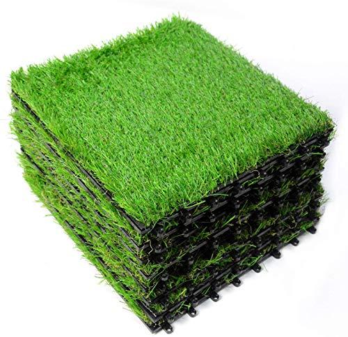 ybaymy 芝生 ジョイント式 18枚セット 人工芝 ジョイント式 人工芝マット パネル 正方形 置くだけ 簡単 施工 30X30cm 自由レイアウト まるで天然芝 タイル DIY 組み立て簡単 ベランダ ガーデン ガーデニング 玄関 庭