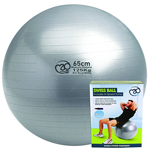 Pilates-Mad FBALL100 Yoga Ejercicio Swiss Fitness Ball, Unisex Adulto, Plata, 65cm
