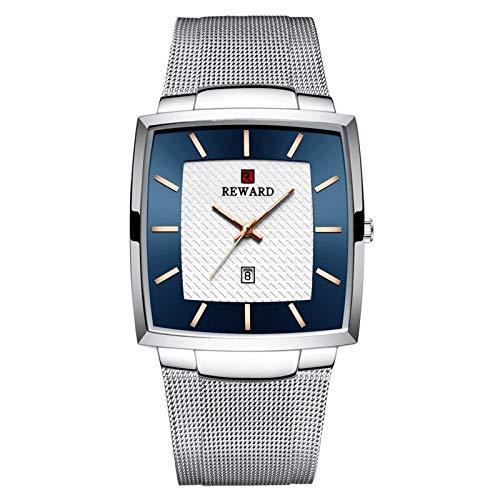JISHIYU Delgado Malla de Negocios Reloj de la Manera Impermeable de los Relojes del Cuarzo de los Hombres de Acero Inoxidable Masculino Superior de la Marca de Lujo (Plata)