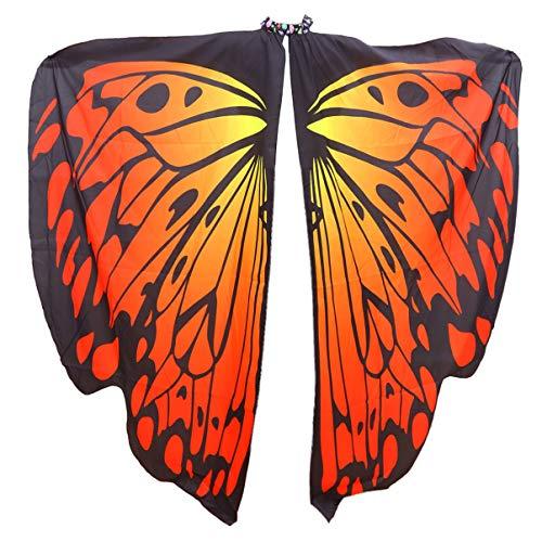 LIOOBO alas de Mariposa para Mujer - Capa de Halloween - Accesorio para Disfraz de NINFA duendecillo