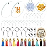 30 Pieces Acrylic Transparent Circle Discs, 2 Inch Diameter Round Acrylic Clear Keychain Blanks 114Pcs Keychain Tassles Keychain Rings Set for DIY Projects and Crafts