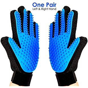 Ateena Pet Grooming Glove Gentle Deshedding Brush Glove - Efficient Pet Hair Remover Mitt - Massage Tool with Enhanced Five Finger Design - Perfect for Dogs & Cats with Long & Short Fur 1 Pair Left + Right