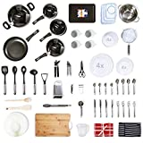 70+ Piece Premium Kitchen Starter Kit for Home Movers, Students, Expats - Pan Sets, Kitchen Tools, Cooking Utensil, Tableware, Baking Tray, Cookware, Dinnerware Set (Premium - Camden Sage Green)