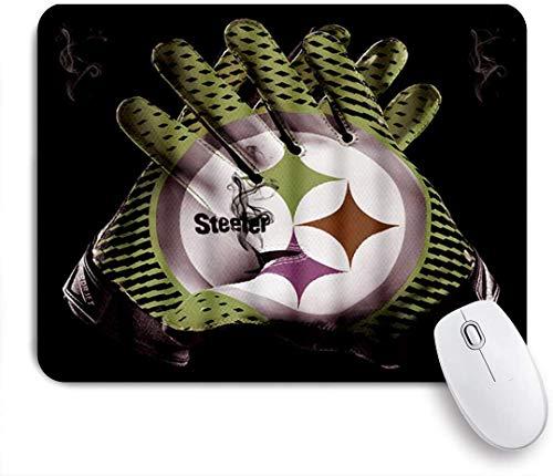 Dekoratives Gaming-Mauspad,3D-Druck Cyan Steeler Rugby-Handschuhe Grauer Rauch Schwarzer Hintergrund,Bürocomputer-Mausmatte mit rutschfester Gummibasis