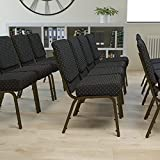 Flash Furniture HERCULES Series 21''W Stacking Church Chair in Black Dot Patterned Fabric - Gold Vein Frame