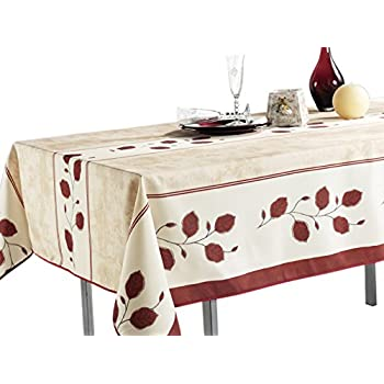 My Jolie Home 60 x 80-Inch - Rectangular Tablecloth Beige Red Leaf, Stain Resistant, Washable, Liquid Spills Bead up (Other