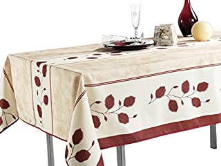 60 x 120-Inch Printed Kitchen Tablecloth For Dinner Parties, Red Rustic Leaf, Stain Resistant, Washable, Liquid Spills bead up, Seats 10 to 12 People