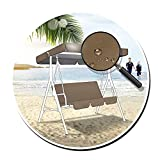 ZHANGXJ Replacement Garden Swing Canopy, 3 Seater Coffee Color Anti-UV Waterproof Outdoor Cover Top and Resistant Chair Covers (Size : 195cm X 125cm X 15cm)