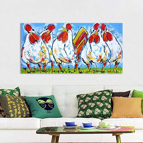 ZXJYH handgeschilderde beroemde olieverfschilderij reproductie kunstwerk afbeeldingen op canvas, Vrolijk schilderij muurkunst kleurrijke dieren kip vrienden voor de woonkamer muurkunst kinderkamer koffiehuis Home Decorations 70×105cm(28×42 inch)