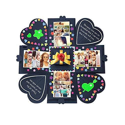ASDWA Álbum de Fotos Caja de Regalo de explosión Creativa, Álbum de Fotos Hecho a Mano con Bricolaje Álbum de Recortes, Regalo de cumpleaños, Caja Sorpresa de Boda o Día de San Valentín (Negro)