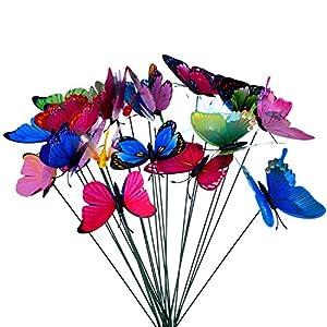 24 Piezas Mariposas Libélulas Coloridas de Jardín Adornos de Patio en Palos para Decoración de Planta, Yarda Exterior…