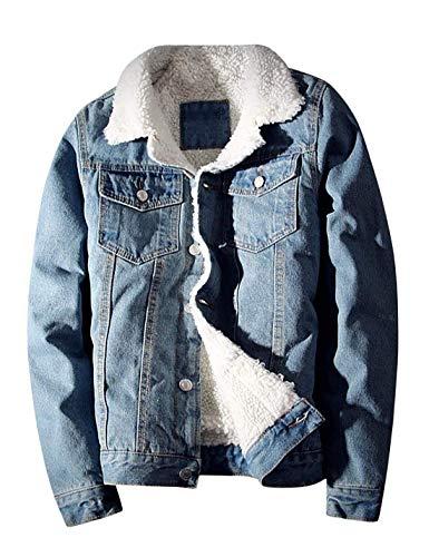 Idopy Herren Jeansjacke Winter Dicke Warme Cowboy Mäntel Oberbekleidung Fleece Gefüttert Outdoor Multi Pockets Jacken Hellblau 4XL